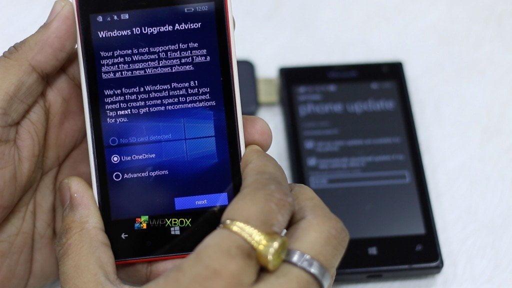 Windows 10 Mobile Upgrade Advisor Options