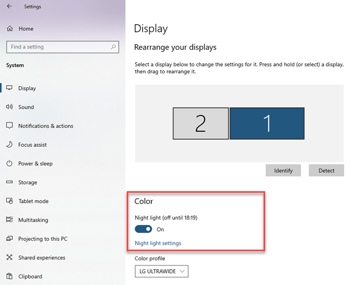 How to  Enable, Disable and Setup Night Light Mode in Windows 10