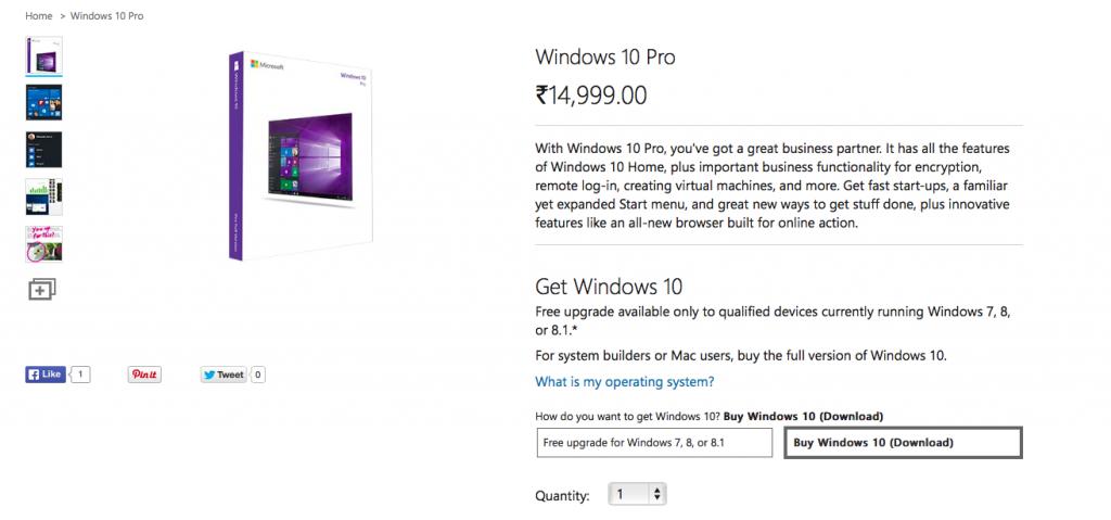 Windows 10 Pro Pricing