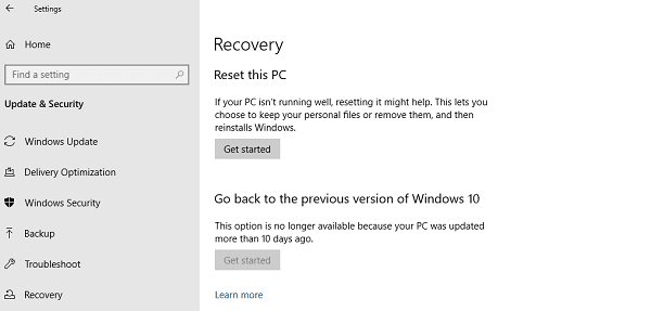 Windows 10 Recovery Reset Windows Computer