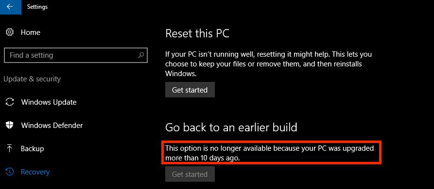 Windows 10 Roll Back Period