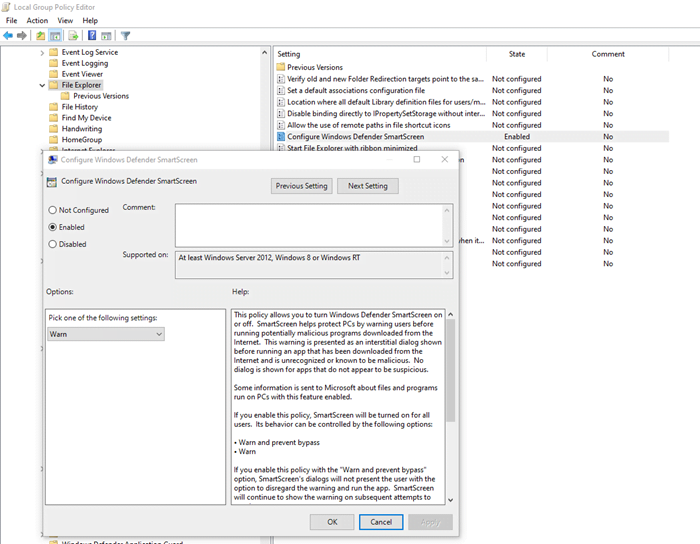 Windows 10 Smart Screen Block Apps Group Policy