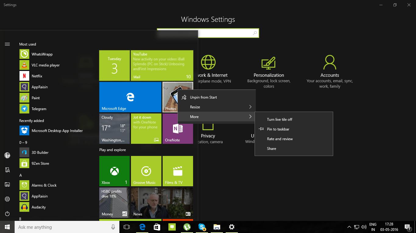 Personalize Windows 10 PC