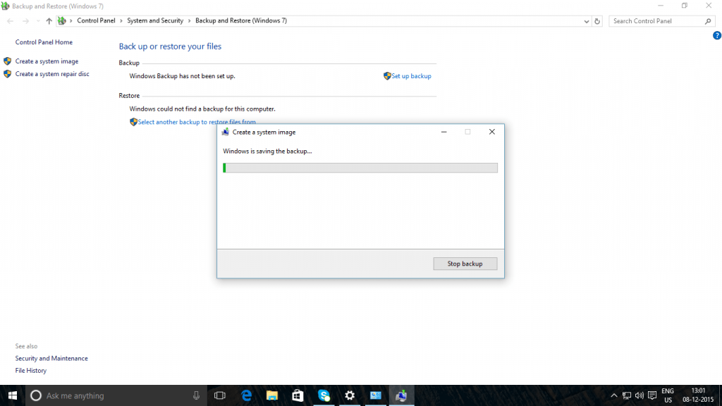 Windows 10 Backup Process