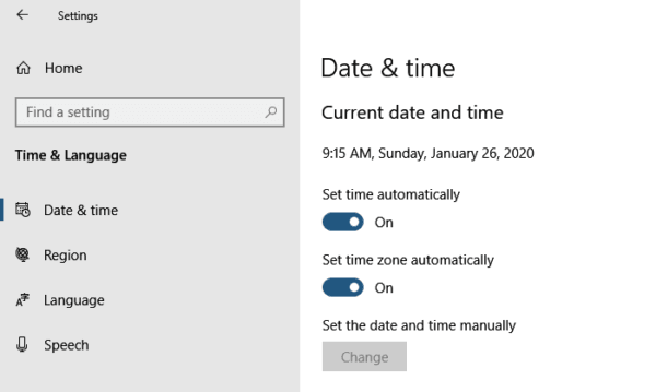 Windows 10 Time Settings