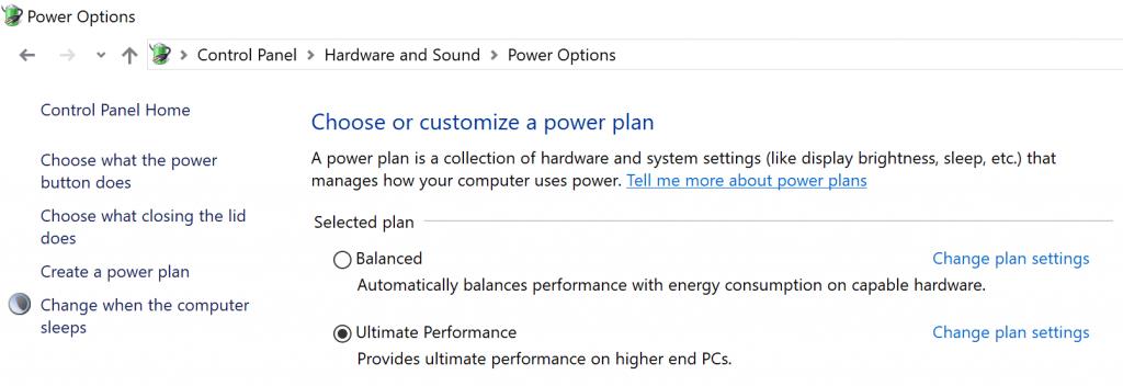 Enable Ultimate Performance Power Plan Windows 10