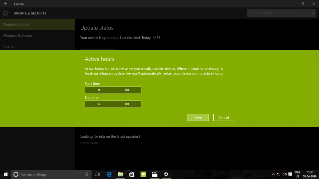 Windows 10 Update Active Hours 2