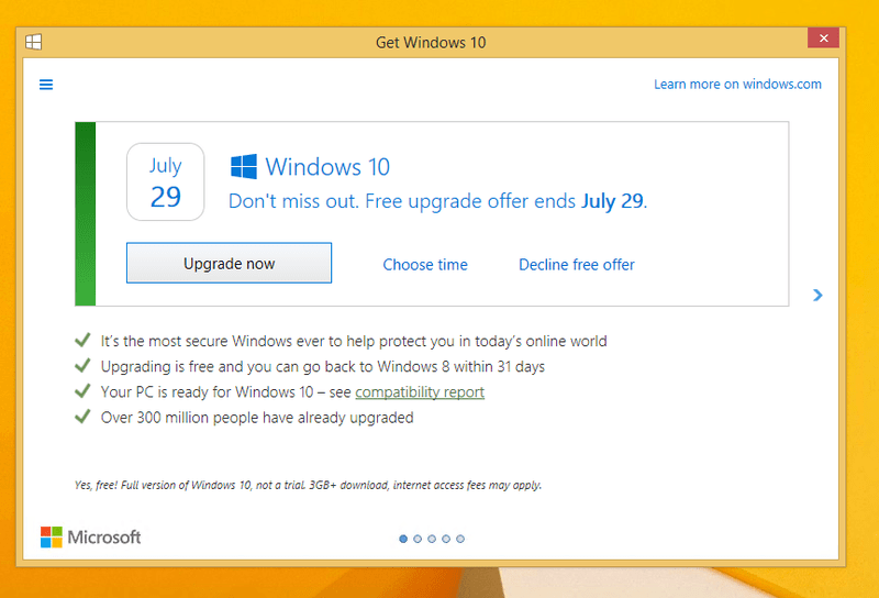 Windows 10 Upgrade Prompt Changes