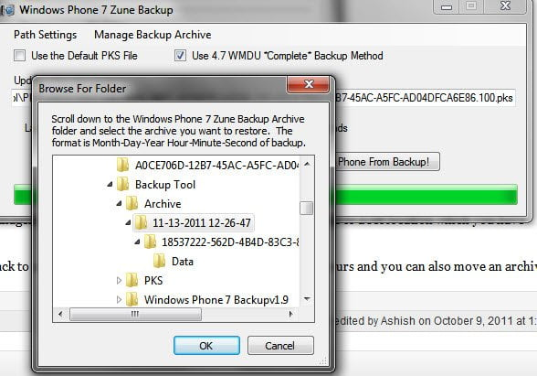 Windows 7 Restore Archived Backip to Default location