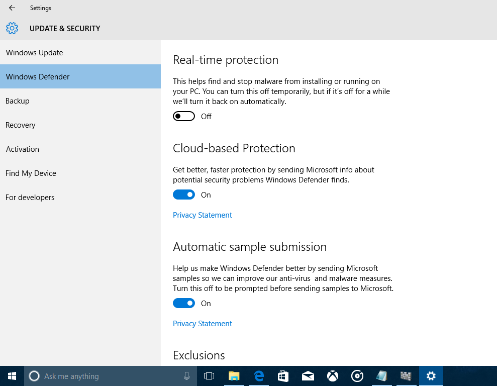 Windows Defender Windows 10 Disable 3