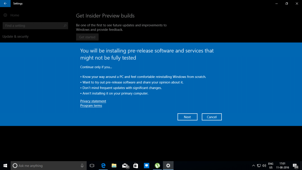 Windows Insider Program Confirmation