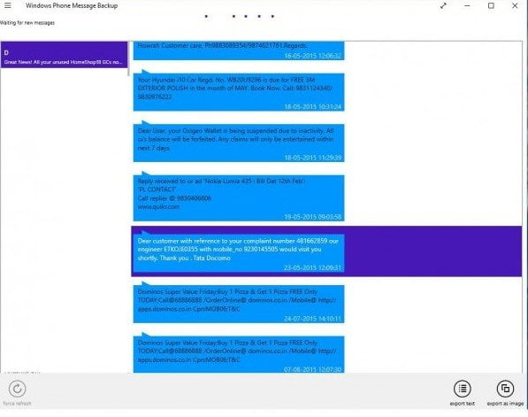 Windows Phone Messages on Windows 10