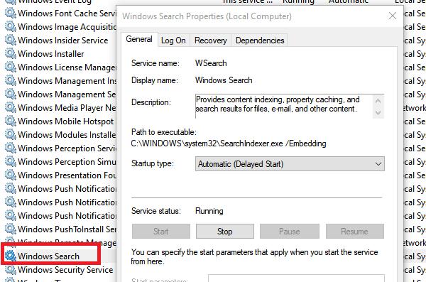 Windows Search Service Restart