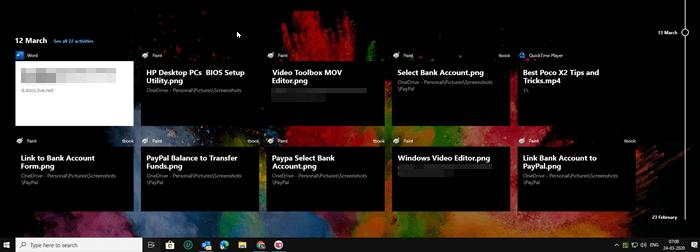 Windows Tab Timeline