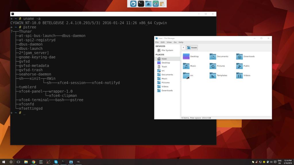 XFCE Windows 10 Bash