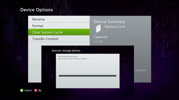 Xbox Clear System Cache