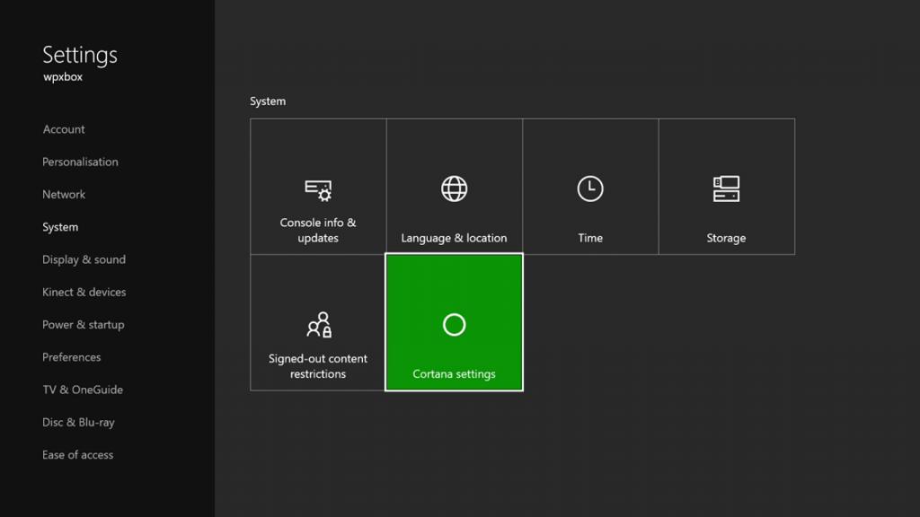 Xbox One Cortana Settings