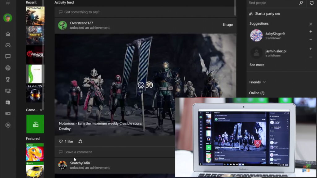 Xbox One app Windows 10