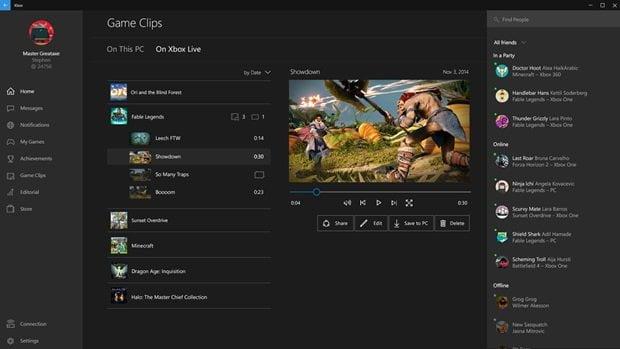 Xbox Windows 10 game Clips