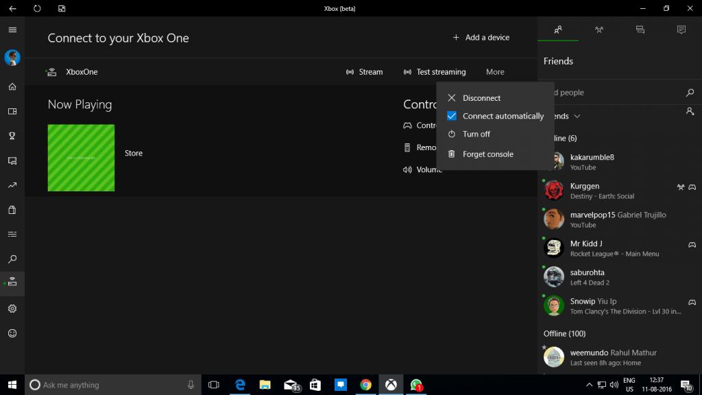Yurn on Xbox One from Xbox App