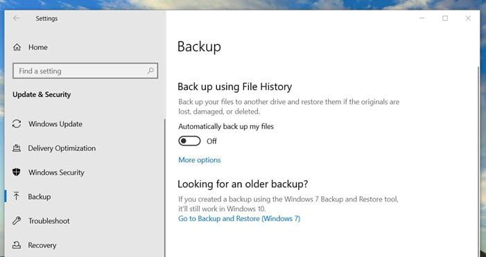 Backup using File History Windows 10