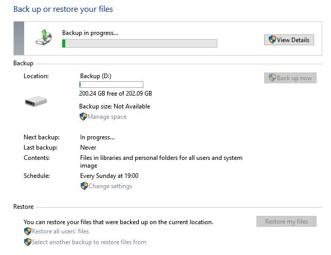 backup restore System Image progress
