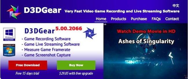 D3D gear game recording Windows 10