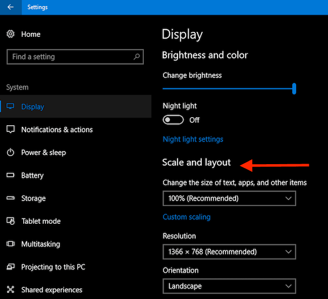 Change Display Settings Scale and Layout
