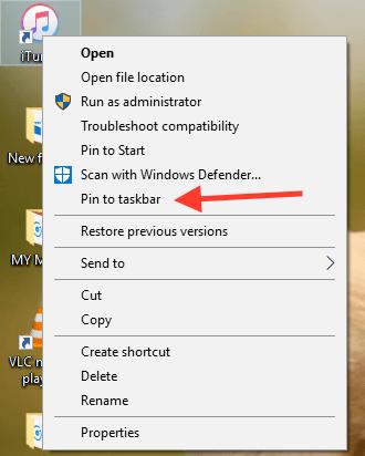 Windows 10 Pin to Taskbar