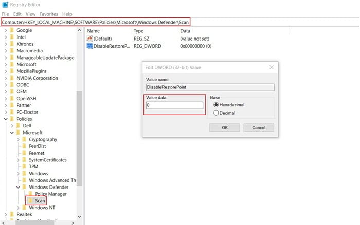 create a system restore automatically  using Registry