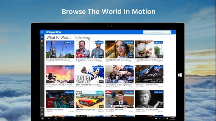 Dailymotion is an Universal app with new Features