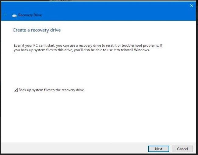 Create Recovery Drive Backup on USB