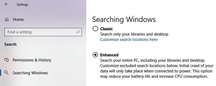 enhanced searching windows
