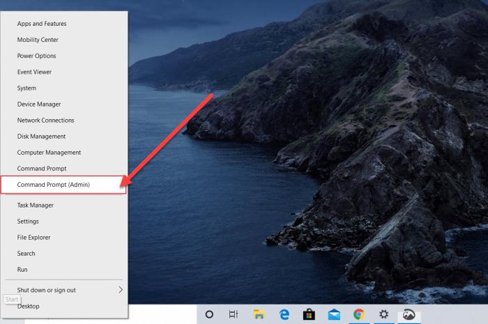 how to open cmd admin power menu