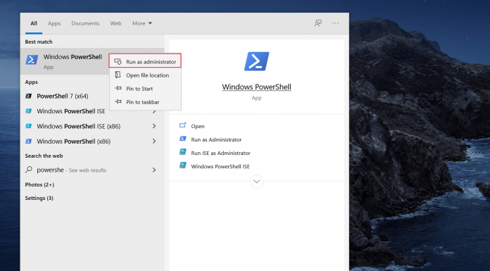 how to open powershell from search box