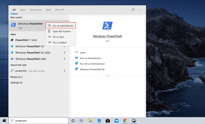 how to open PowerShell from search box PowerShell Admin Permission