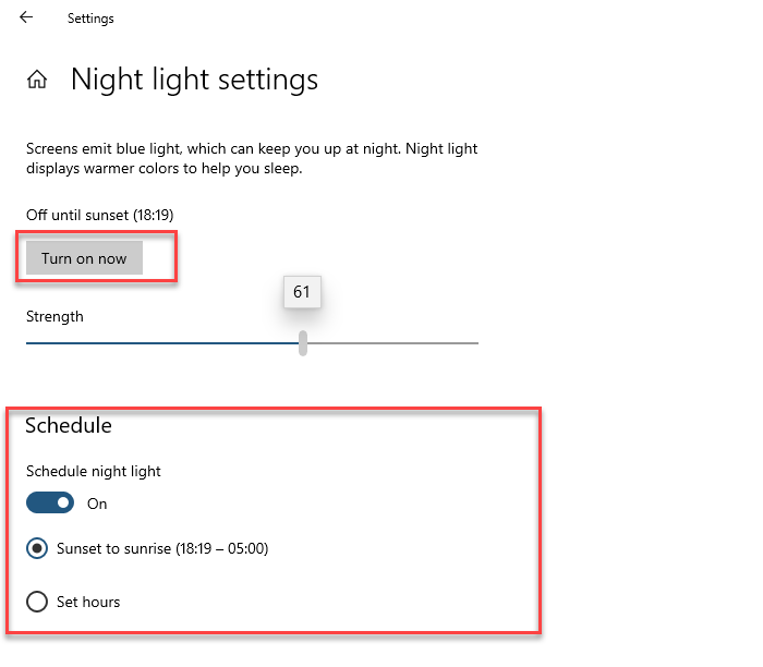 Setup Nigh Light in Windows 10