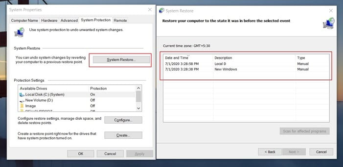 Create and Restore using System Restore - Restore