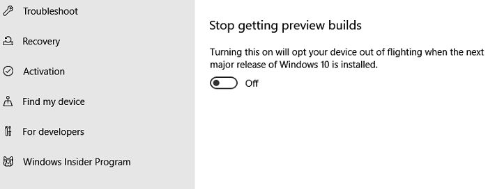 Stop Preview builds Windows Insider