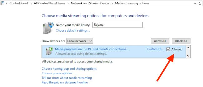Setup Media Sharing on Windows 10