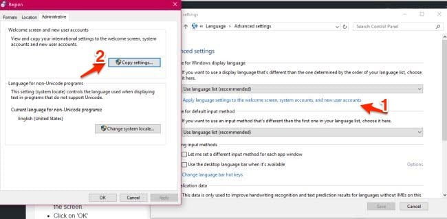 Copy Settings for Windows 10 Language new user