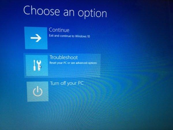 Advanced troubleshoot mode in Windows 10