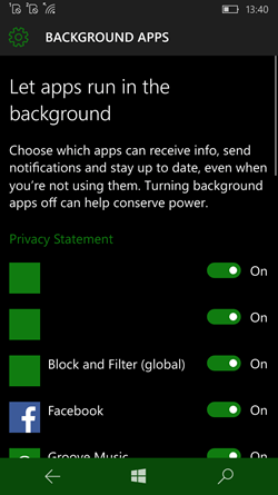 Disable Apps from Running in the Background